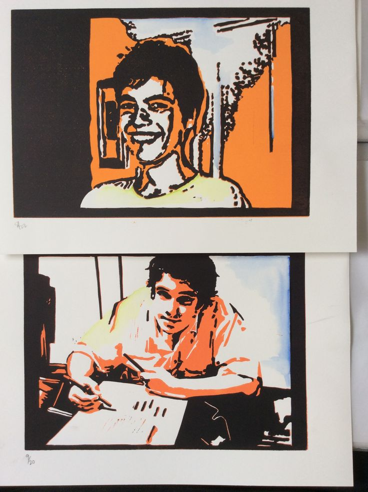 My sons.....reduction Lino print and watercolour.
