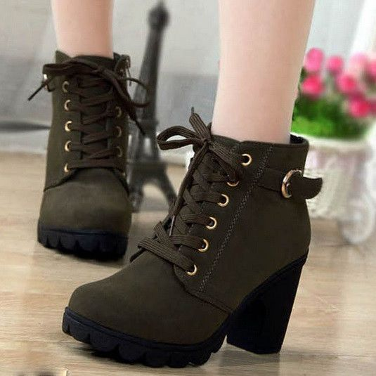 Winter Ankle Boots High Heels Snow Leather Boots - Hot100Fashions