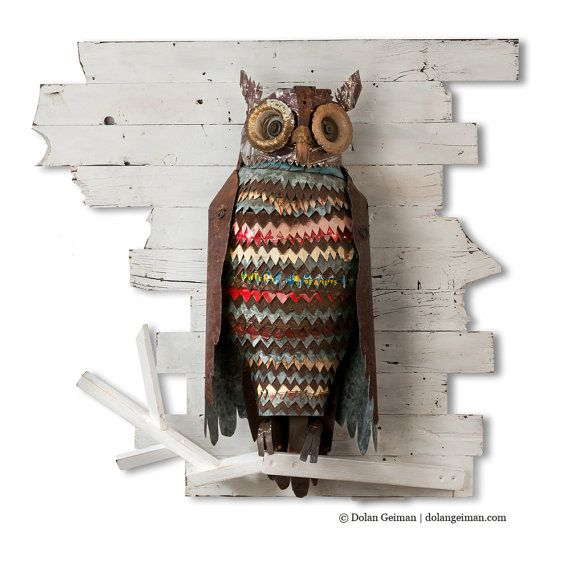 The Path at Night Primitive Metal Owl Sculpture by dolangeiman, $3495.00