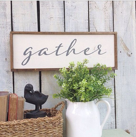 GATHER hand-painted wooden sign 8.5 x 19.5 white by charlieandella