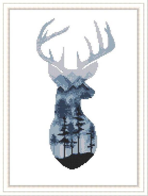 Cross Sew Watercolor sample Deer Watercolor Animals Counted Cross Sew Trendy  cross sew  P