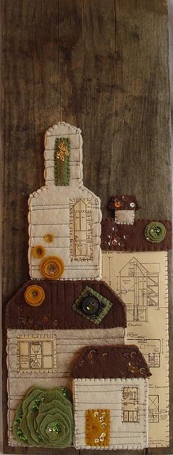 felt collage houses