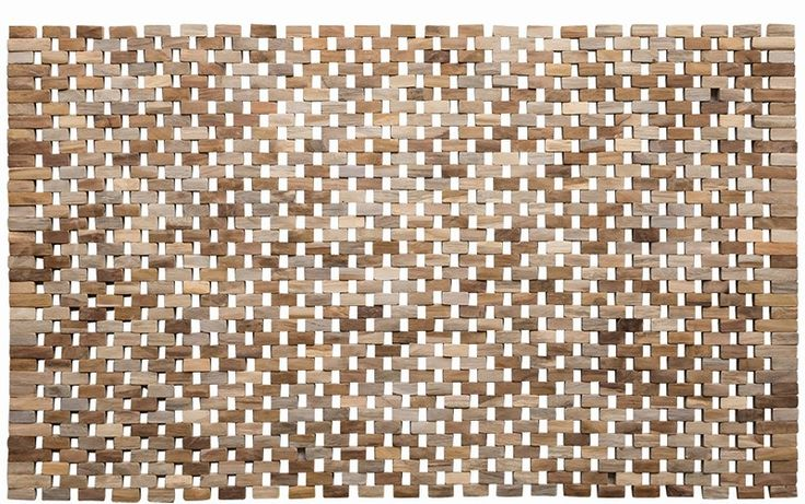 This bathmat has a contemporary parquet design constructed from small flat pieces of teak strung together.