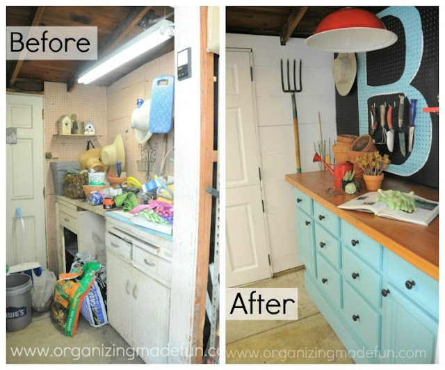 Potting Shed Make Over Wall Unit Is Two Bathroom Cabinets From Habitat For Humanity