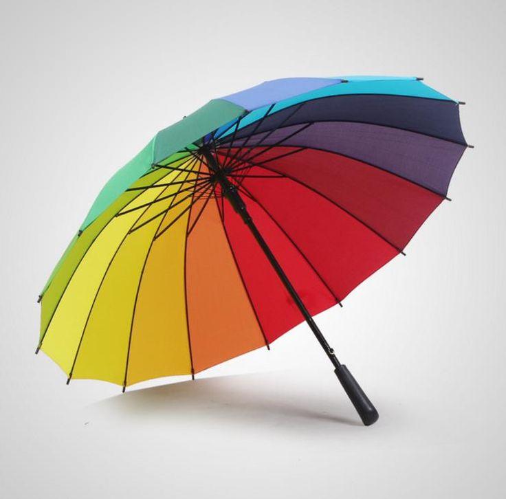 Rainbow Golf Fishing Umbrella Unisex Parasol Wedding Party Favors Sun Rain Umbrellas 16k Windproof #Affiliate