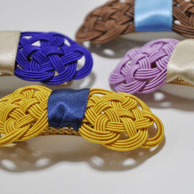 絹水引で作ったリボンのバレッタ和カラー by micino アクセサリー ヘアアクセサリー