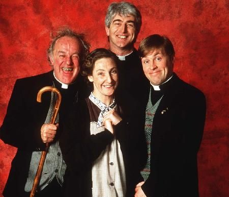 The cast of Father Ted: Frank Kelly as Father Jack Hackett, Pauline McLynn as Mrs Doyle, Dermot Morgan as Father Ted Crilly and Ardal O'Hanlon as Father Dougal Macguire