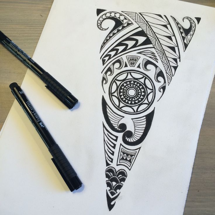 Zentangle - Triangle. Ink drawing on paper