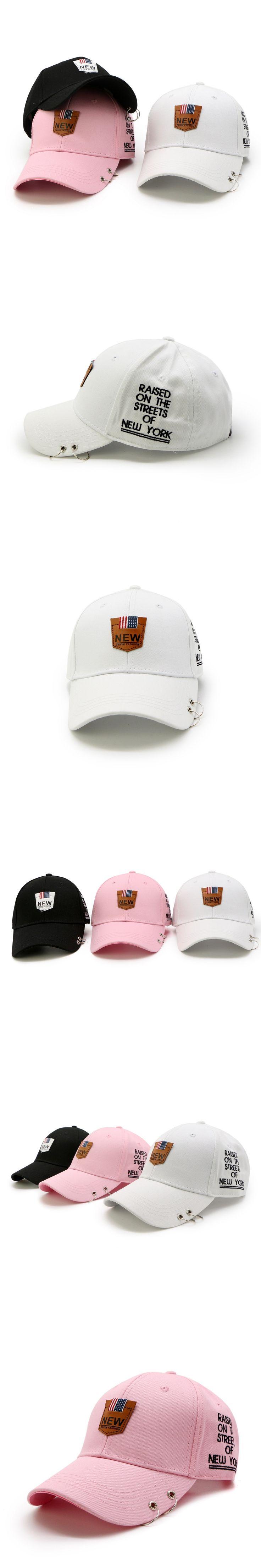 Iron ring baseball cap snapback hat spring Summer cotton cap hip hop fitted cap cheap hats for men women summer cap Punk Style