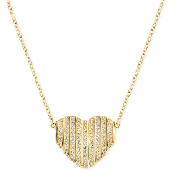 Swarovski Changeable Crystal Pave Heart Pendant Necklace ($125) ❤ liked on Polyvore featuring jewelry, necklaces, gold, pave necklace, heart necklace, swarovski necklace, heart jewelry and pave heart necklace