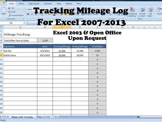 excel mileage spreadsheet
