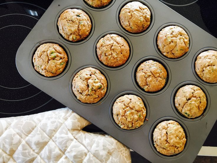 Low sugar, egg free/dairy free zucchini muffins for baby. Sneaking veggies into yummy things is great, and muffins are the perfect place to do just that.