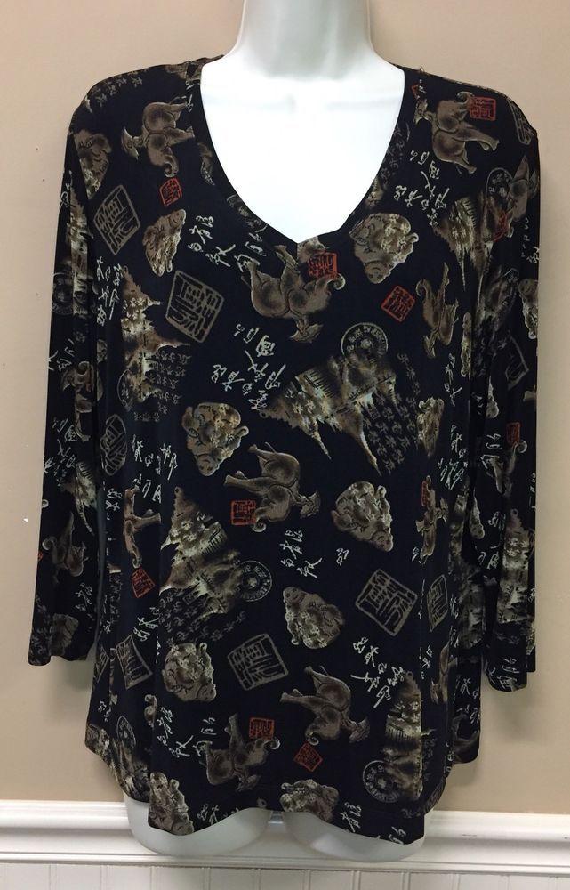 Chicos Travelers Shirt Size 2 Asian Buddha Elephant 3/4 Sleeve Slinky Acetate     eBay