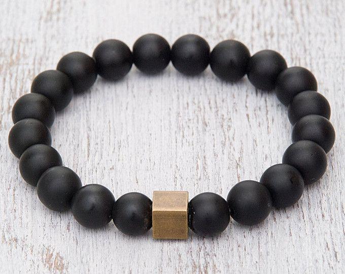 Black matte bracelet Onyx bracelet Gemstone beaded bracelet Power bracelet Stretch bracelet for men Meditation bracelet Protective bracelet