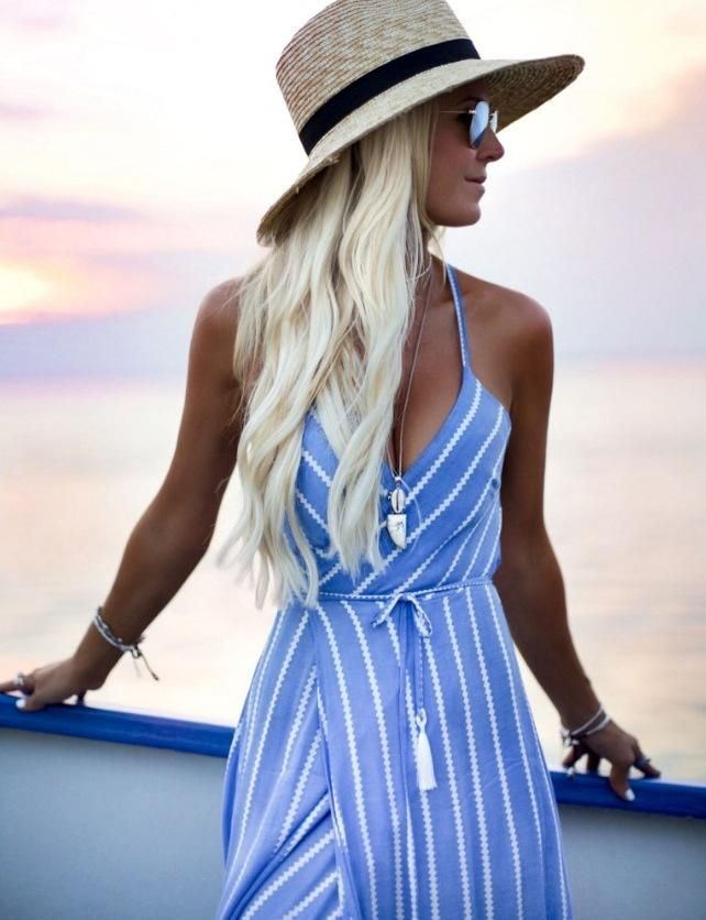 efe29e479d Sexy V-Neck Stripes Maxi Dress Beach Dress in 2019 | Yucatan 2020 ...