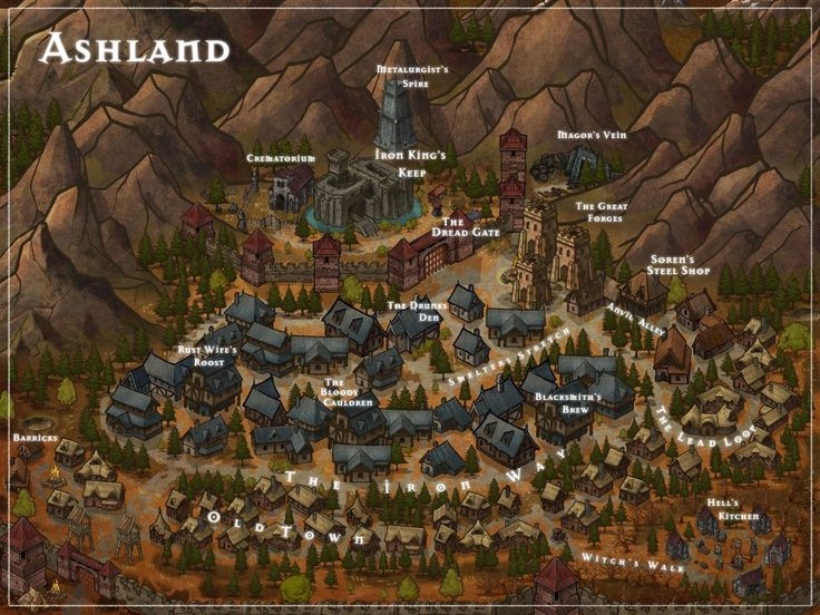 map of ashland  the capital of the cinderlands