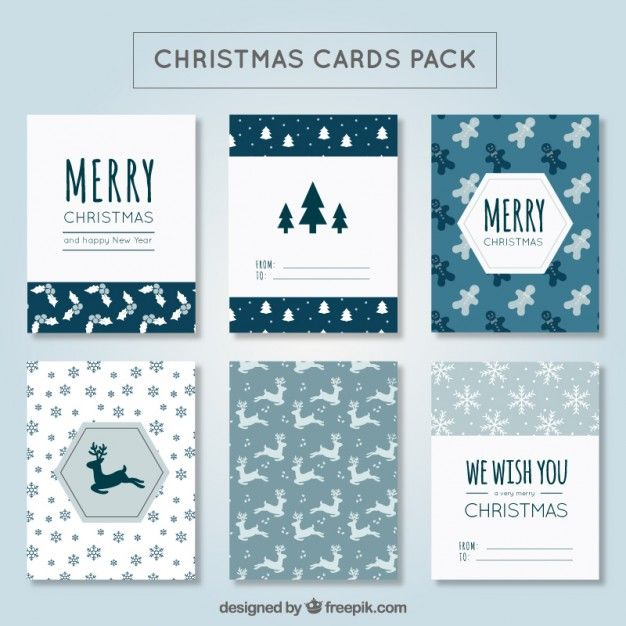 Cute christmas card pack Free Vector