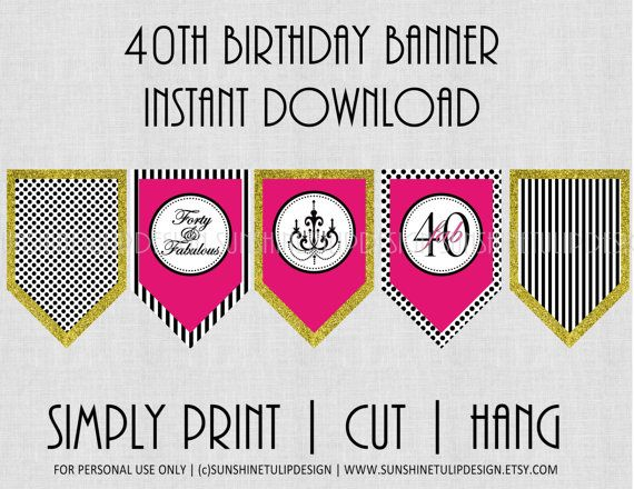 Excellent 40Th Birthday Banner Hot Pink Black And White Chevron Funny Birthday Cards Online Hetedamsfinfo