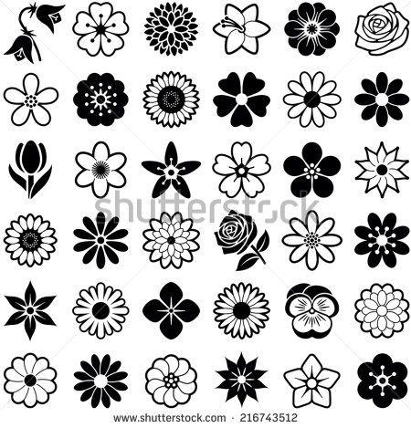 Fleurs vectorisées, stylisées icônes. Passe partout pour scrap, plastique dingue...