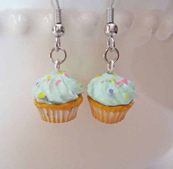 Confetti Cupcake Earrings  Miniature Food Jewelry by Artwonders, $10.00