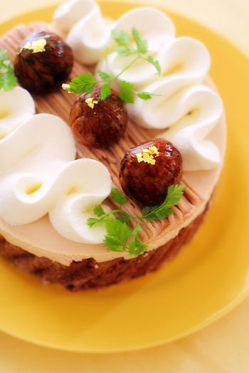 mousse cake with boiled marron chestnut {no recipe}