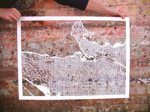 Vancouver map paper-cut. $1100