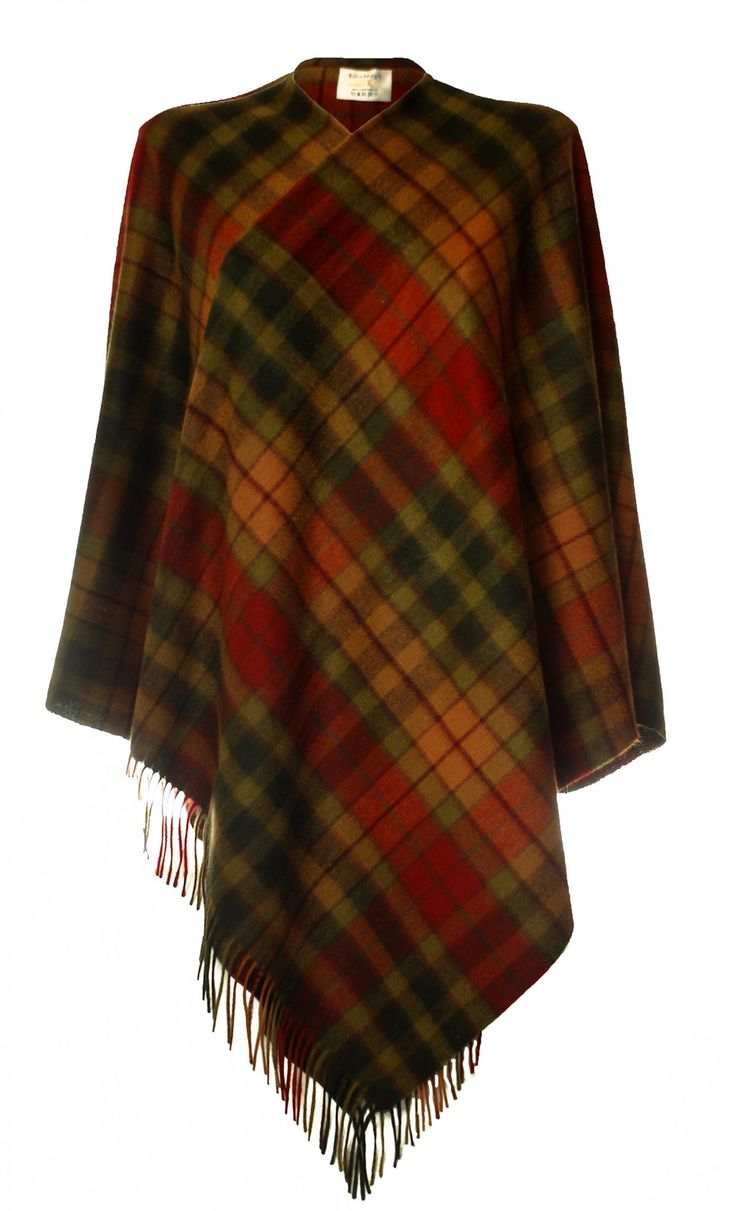 Pure Lambswool Tartan Cape, Buchanan Autumn