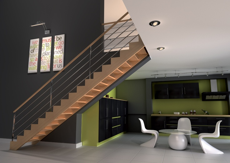 h tre escalier droit sur limon d coup fa on cr maill re. Black Bedroom Furniture Sets. Home Design Ideas