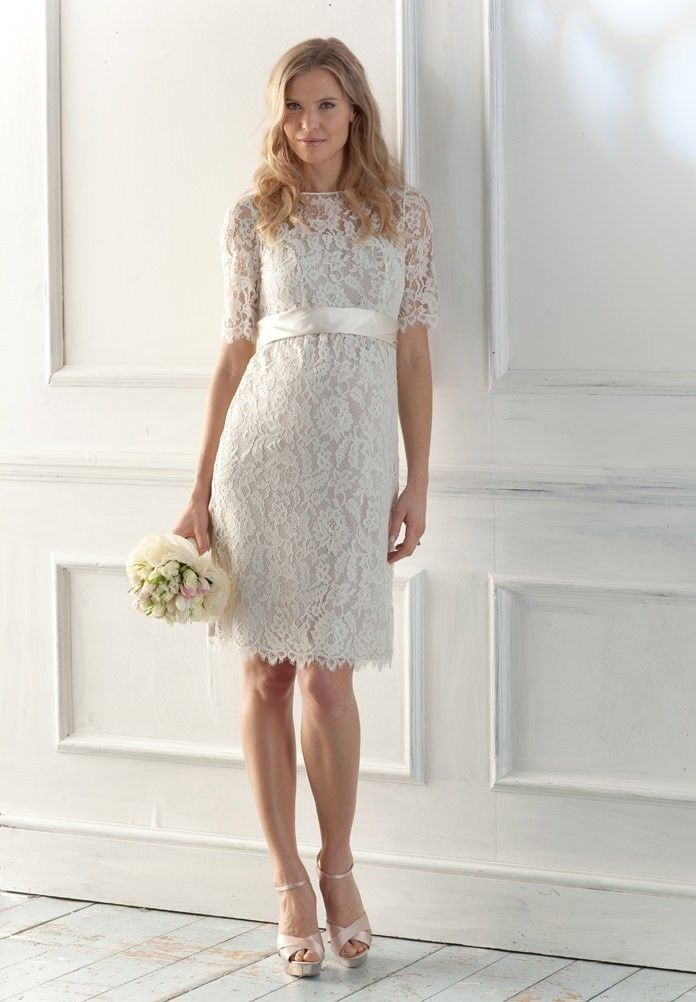 1.Bateau Column Short Lace Maternity Wedding Dress with Short Sleeves  2.Short Maternity Wedding Dress with Delicate Bow Sash