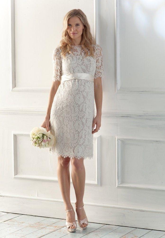 1.Bateau Column Short Lace Maternity Wedding Dress with Short Sleeves  2.Short Maternity Wedding Dress with Delicate Bow Sash