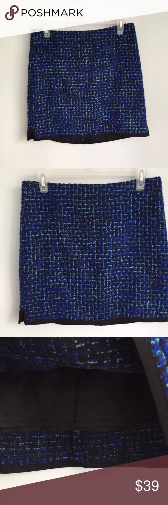 """J.CREW Blue Postage Stamp Mini Skirt Women's J.CREW Postage Stamp Mini Skirt Blue Indigo Tweed Wool Blend Pre-owned in great condition with no flaws Size 2 Measures 16"""" across waist laying flat Length is 17"""" long J. Crew Skirts Mini"""