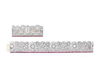 AN EARLY 20TH CENTURY DIAMOND AND SYNTHETIC RUBY BRACELET AND BROOCH The articulated bracelet of openwork foliate design, set throughout with old and single-cut diamonds, the base designed as a line of single-cut diamonds on top of a line of rectangular buff-top synthetic rubies, together with a brooch of similar design, centering an oval-cut diamond, weighing approximately 1.41 carat, 1920s, bracelet 17.2 cm, brooch 6.5 cm, with French import marks for platinum and gold