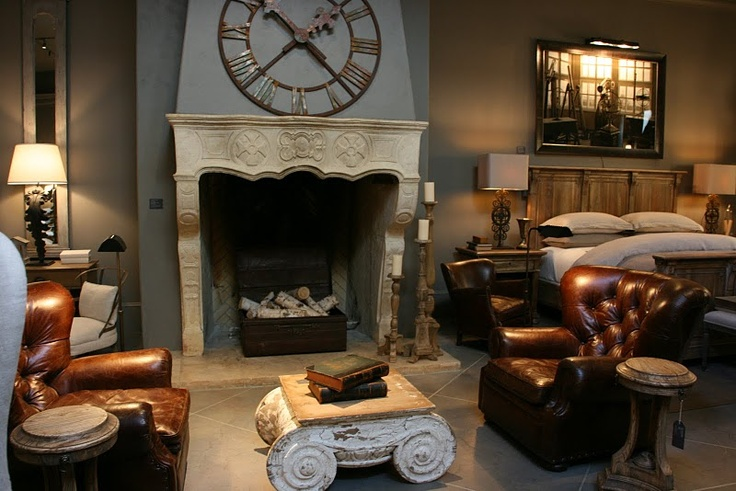Wouldn't every man love these handsome leather chairs in their man cave! Love this room from Restoration Hardware..