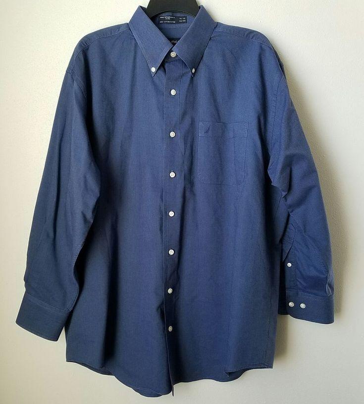 Nautica Vintage Oxford Navy Blue L/S B/D Men's Dress Shirt Size 16.5 Preowned #Nautica