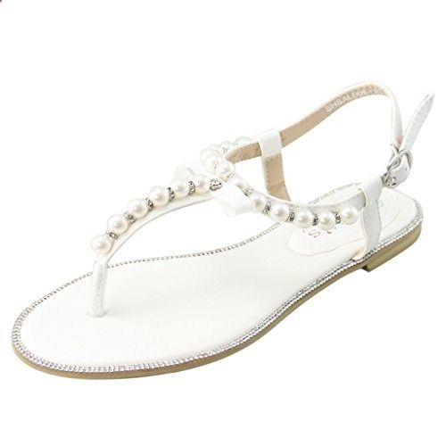 LARA's Women's Gladiator Flat Sandals Beach Wedding Pearls Rhinestone Thong Shoes White US 8. Check website for more description.
