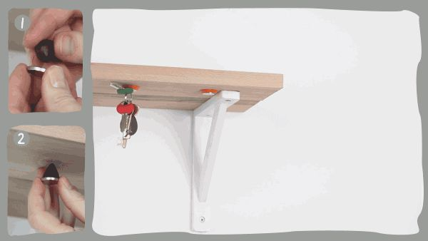 Sugru + Magnet kit: attach magnets to the underside of a shelf with Sugru.