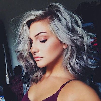 Details about Short European 100% Real Human Hair Wigs Grey Wavy Lace Front Wig Full Lace Wigs