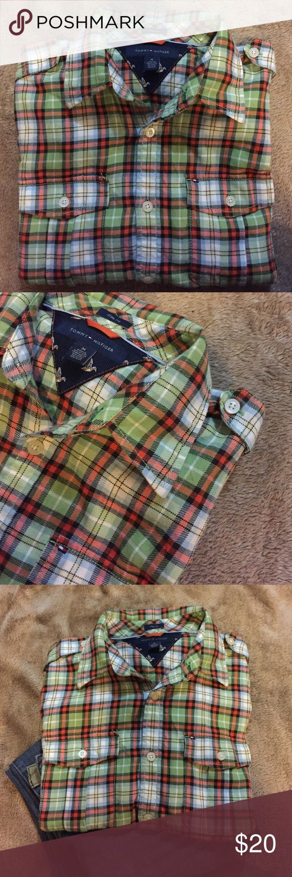 Tommy Hilfiger Flannel Tommy Hilfiger long sleeve button down Flannel - 100% cotton - trim fit Tommy Hilfiger Shirts Casual Button Down Shirts