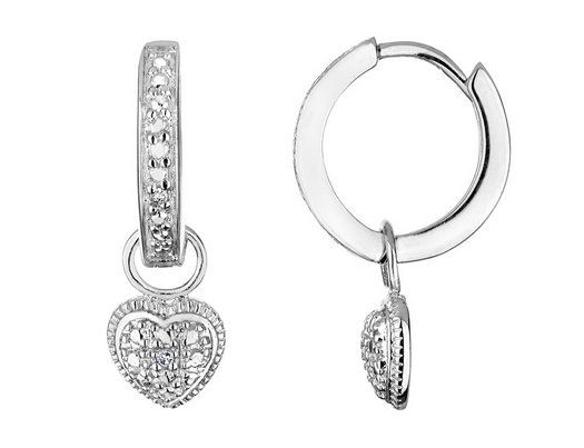 Heart Hoop Earrings with Diamond Accent in Sterling Silver
