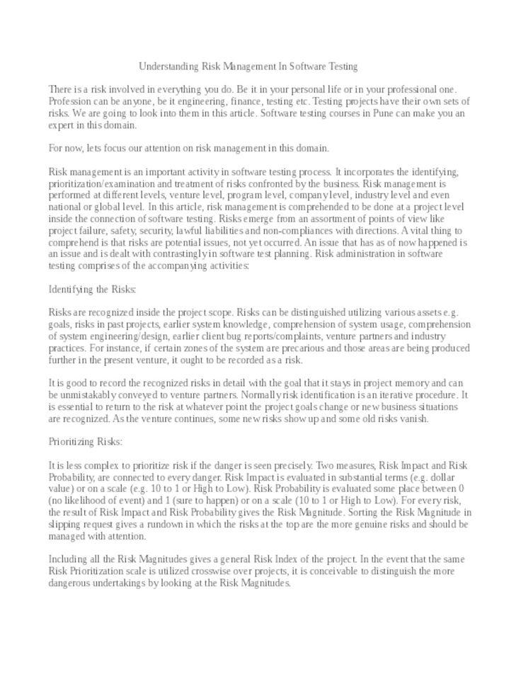 Best 25+ Risk management pdf ideas on Pinterest Financial - risk management plan