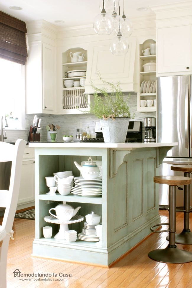 Give your kitchen cabinets a custom look - Kitchen Makeover with Duck Egg blue island and DIY-custom cabinets