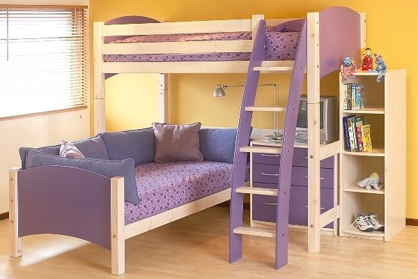 Cute mauve bunk bed with stairs and study desk
