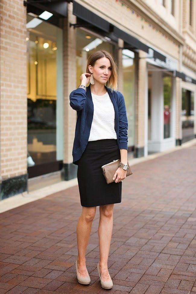 Lace tee, navy cardigan, black pencil skirt