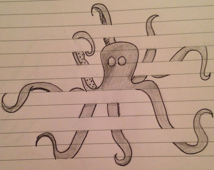 Drawing Lines Between : Drawing sketch doodle octopus between the lines on lined