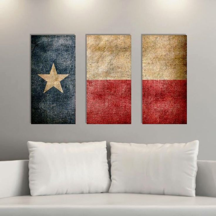 Triptych Vintage Texas Flag Panel Canvas Art