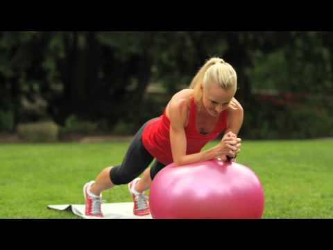 Elite marathoners Kara Goucher and Shalane Flanagan demonstrate their plank series on the Swiss ball to show how they strengthen their core (abdominals and low back) -- key for a runner.     Shalane demonstrates a 5-move series done while balancing in a plank position on the ball, forearms on the ball and hands clasped: 1) roll the ball forward an...