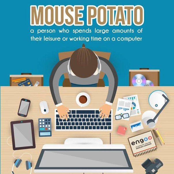 Английский язык. Слово дня.  Mouse potato – (близко к couch potato) человек, который много времени проводит за компьютером.