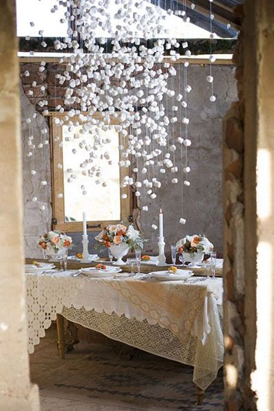 Hanging marshmallow winter entertaining ideas via Bridal Guide. #laylagrayce #holiday