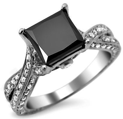 14k White Gold Princess Cut Black Diamond Engagement Ring - Unusual Engagement Rings Review