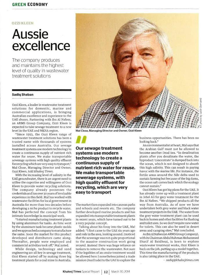 GREEN ECONOMY - Ozzi Kleen News artic printed in Khaleej Times - http://ozzikleen.com.au/announcements/green-economy-ozzi-kleen